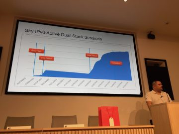Ian Dickinson shows the growth in IPv6-enabled subscribers, now at 95% enabled.